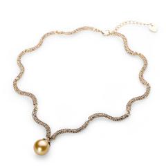 LR波纹仿珍珠满晶钻项链 货号115079