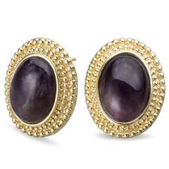 AN.宝石款椭圆紫晶耳环 货号116344