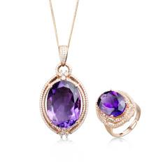 紫气东来紫水晶两件套 货号117910