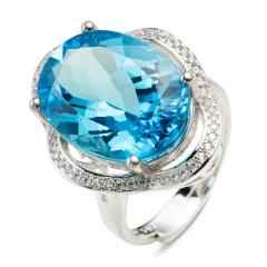 翠璨蓝色传说15克拉托帕石戒指