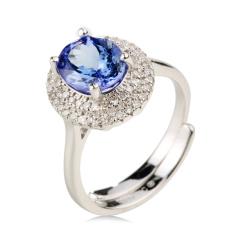 翠璨蓝色经典坦桑石戒指套组 货号120502