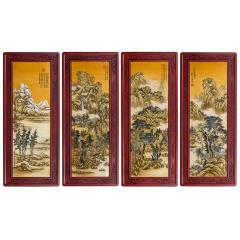 《锦绣天下》古画珐琅四季屏 货号120926