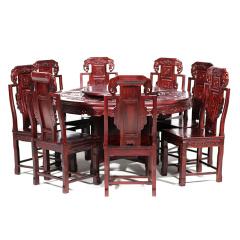 世锦豪庭红木餐桌套组 货号121883