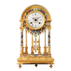 鎏金铜胎圆顶钟 货号123105