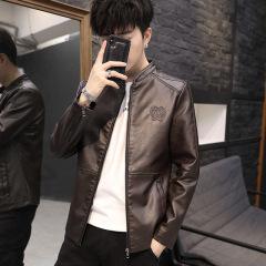 花花公子 潮男士韩版修身立领休闲皮衣青年机车皮夹克