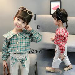 菲尔小屋   2020春秋季童套装 韩版甜美中小女童翻领大格子裤绳两件套