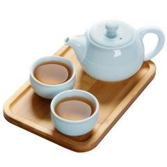 金镶玉 便携旅行茶具套装 竹木茶盘 龙泉青瓷旅行茶具