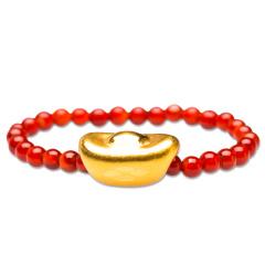 芭法娜  财神到 元宝戒指 3D硬金足金黄金转运珠戒指  玛瑙编织戒指