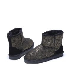 达芙妮(DAPHNE)冬季新款舒适时尚拼色平底雪地靴1016608011