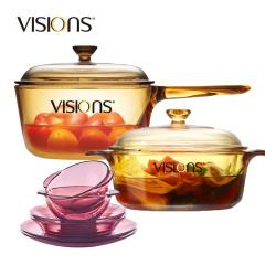 康宁VISIONS晶彩透明锅双耳1.25L+单柄1.5L+紫餐6件组VS12+VSP15+CWP6