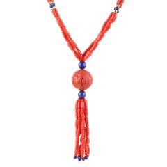 俏丽红珊瑚吉祥如意龙珠独供组 货号124630