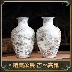 中艺盛嘉特色手工艺瓷器凌宗正瓷韵1004家居摆件收藏品花对瓶礼品