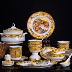 景德镇套装餐具骨瓷臻品清明上河图58头5A级煲碟碗齐全 家用馈赠送礼