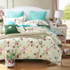 VIPLIFE家纺 优雅田园全棉四件套纯棉床单被套床品套件