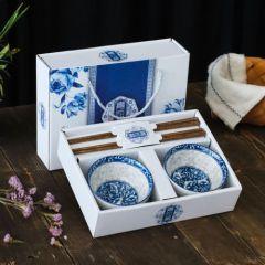 福辰 日式碗筷套装青花瓷碗创意小礼品陶瓷餐具2碗2筷