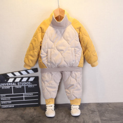 儿童棉服套装冬季新款 拼色套头加厚保暖男女童装外套长裤两件套