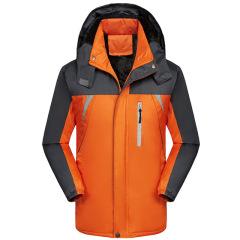冬季加绒加厚户外保暖冲锋衣可定制logo男女同款棉服夜行反光条
