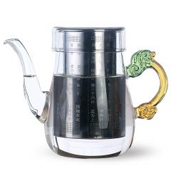 金镶玉 龙把琉璃壶 不锈钢过滤内胆高硼硅防爆玻璃花茶壶
