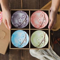 福辰 日式碗筷套装手绘雪花碗 青花瓷碗陶瓷餐具4只碗