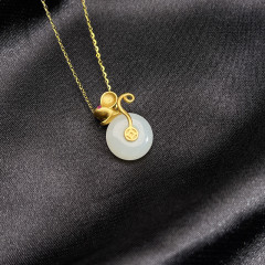 S925银镶嵌和田玉套链-子鼠平安扣