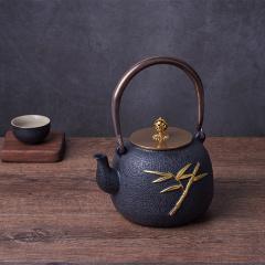 鼎匠 茶壶 日本南部传统工艺铁壶 描金浮雕铸铁壶 大容量多热源泡茶壶 金竹