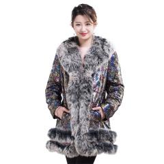 微莎蒂娜印花羊皮鹅绒服特供款  货号124857