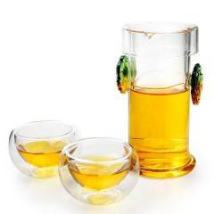 金镶玉 双耳琉璃壶 耐热耐高温带过滤内胆 玻璃茶具套组