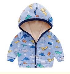 童装新款秋冬男童加绒外套婴幼儿连帽卫衣女宝宝开衫夹克