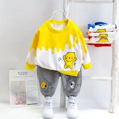 菲儿小屋 秋季新品1-4岁男女宝宝印花音乐小熊长袖长裤套头套装