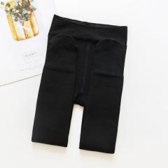 小七和麻麻秋冬新款儿童加厚加绒保暖一体裤 女童纯色抽条打底裤