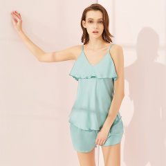 维多拉斯春夏新款仿真丝舒适透气吊带性感甜美女士睡衣套装418