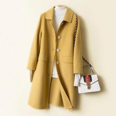 双面羊毛大衣女中长款秋冬2019新款高端韩版修身显瘦毛呢外套女