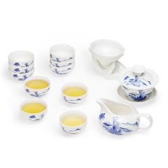 金镶玉 功夫茶具 山水图茶具 陶瓷盖碗茶杯公道杯茶漏整套