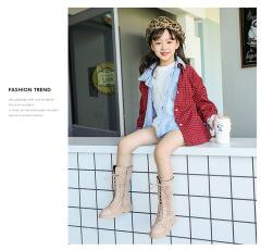 儿童长筒靴2019年秋冬新款波点女童靴子防滑侧拉链童鞋时装靴二棉