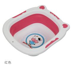 好尔 时尚儿童折叠脸盆便携折叠水盆洗脚盆洗脸盆包包洗手盆加厚