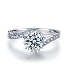 芭法娜 初雪温情 0.4ct/1粒 E色 VS2 铂金Pt950钻石戒指 订婚结婚戒指