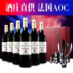 法国原瓶进口巴图太太波尔多干红葡萄酒六支装赠兔耳开瓶器礼盒套装