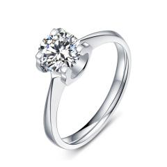 芭法娜  有凤来仪 0.8ct/1粒 G色 VS2 简约优雅Pt950铂金钻石戒指 订婚结婚戒指