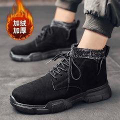 马丁靴男2020秋冬新款加绒中高帮靴子男 防滑袜套休闲工装鞋男靴