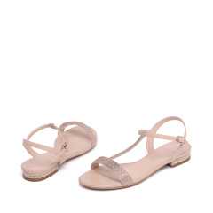达芙妮时尚亮片低跟T字带女凉鞋1016303040