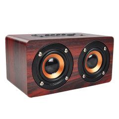 纽曼 复古木质蓝牙电脑音箱迷你音响 便携无线插卡书架小音箱 双喇叭扩音器 W5
