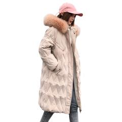菱形格长款显瘦棉服双11特供
