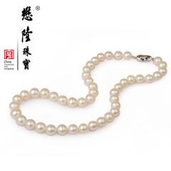 懋隆淡水珍珠项链强光正圆女款颈链礼物6-12mm正品包邮