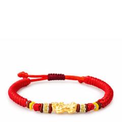 芭法娜 黄金貔貅 3D硬金黄金足金转运珠手链(红色) 手工编织 可调节长短 男女可戴