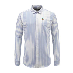 男士商务休闲长袖条纹翻领衬衫23635124灰色