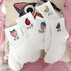 【十双装】女士中筒袜韩版女长筒袜子女 可爱高筒女袜子 5色水果