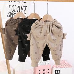 新款男女童面包裤秋冬韩版童装加绒印花小鱼儿童裤子时尚童裤