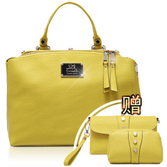 西班牙品牌D.twinkle俏丽时尚牛皮双开包特惠套组 黄色