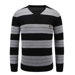 男士时尚长袖V领毛衫条纹针织衫套头衫 33637104