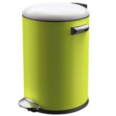 宜可/EKO 贝拉系列不锈钢脚踏垃圾桶 9217MP-LI-5L 砂钢+草绿 绿色